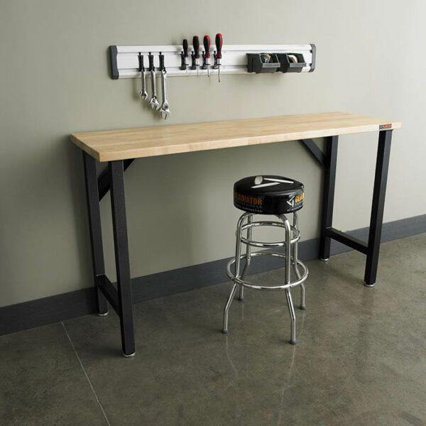 GAWB66HWGG Piano di lavoro in legno con sgabello